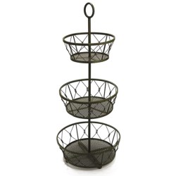 Two's Company 3-Tier Decorative Planter Basket - Metal in Antiqued Green