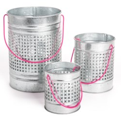 Two's Company Carnival Lights Pierced Bucket Lanterns - Set of 3 in Pink