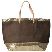 "Two's Company Caroline Jute Bag with Sequin Detail - 22x14"" in Brown - Closeouts"