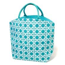 Two's Company Lattice Design 2 Chic Bag - Jute in Blue - Closeouts