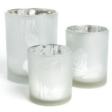 Two's Company Natural Reflections Candle Holders - Set of 3 in Off White - Closeouts