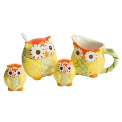 Two's Company Owl-Icious Hand-Painted Serving Set - Set of 4 in Yellow