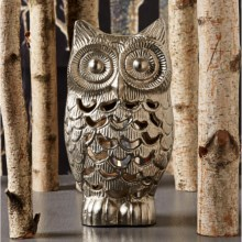 Two's Company Owl Tealight Candle Holder - Metal in Aluminum - Closeouts
