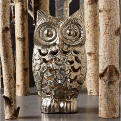 Two's Company Owl Tealight Candle Holder - Metal in Aluminum