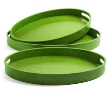 Two's Company Veranda Nested Oval Trays - Faux Leather, Set of 3 in Green - Closeouts