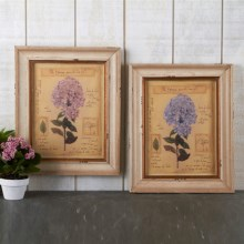 Two's Company Vintage Hydrangea Framed Prints - Set of 2 in Pink / Blue - Closeouts
