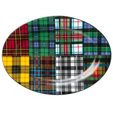 "Two's Company Yale Tartan Porcelain Platter - 17"" in Tartan Plaid - Closeouts"