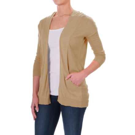 Two-Pocket Cardigan Sweater - Open Front, Elbow Sleeve (For Women) in Beige - 2nds