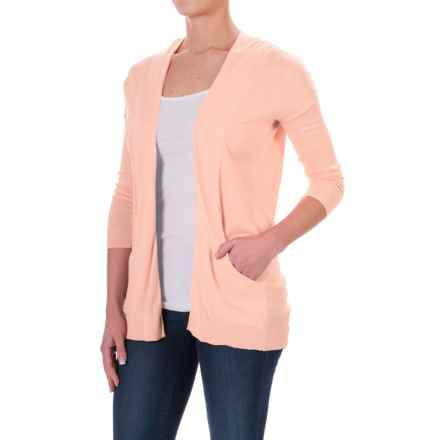 Two-Pocket Cardigan Sweater - Open Front, Elbow Sleeve (For Women) in Peach - 2nds