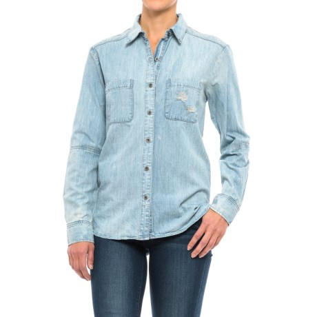 Two-Pocket Distressed Denim Shirt - Long Sleeve (For Women) in Blue