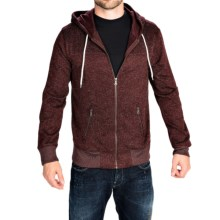 Two-Pocket Fleece Hoodie - Full Zip (For Men) in Wine - Closeouts