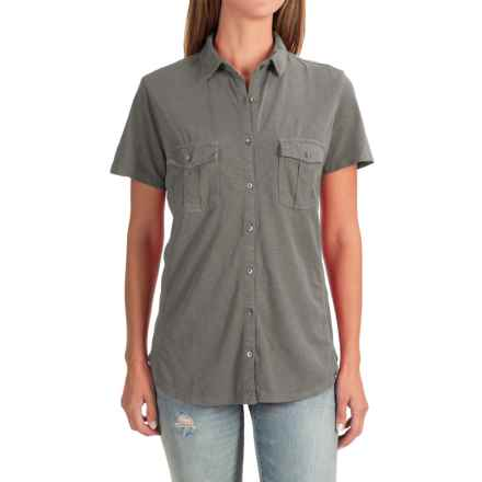 Two-Pocket Knit Shirt - Short Sleeve (For Women) in Charcoal - 2nds