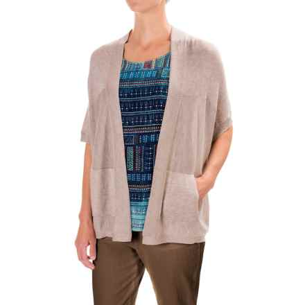 Two-Pocket Open-Front Cardigan Sweater - Short Sleeve (For Women) in Beige - 2nds