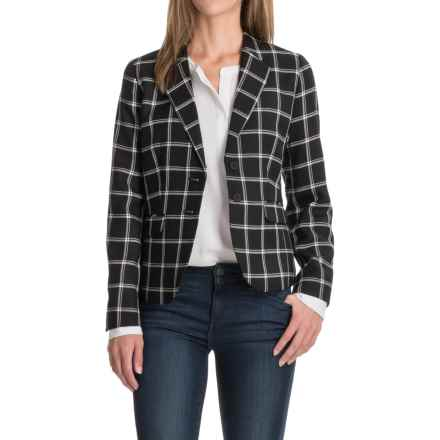 Two-Pocket Plaid Wool Blazer (For Women) in Black/White - Closeouts