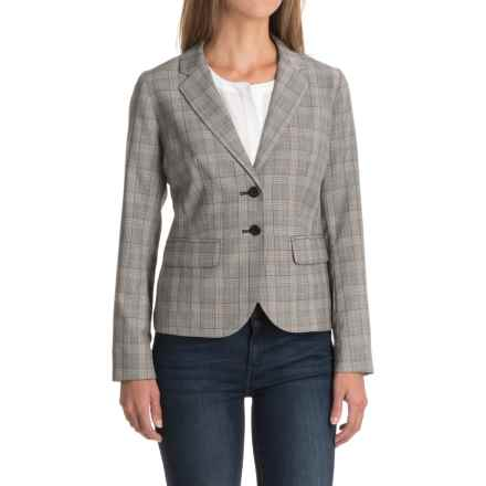 Two-Pocket Plaid Wool Blazer (For Women) in Grey/Red - Closeouts