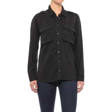 Two-Pocket TENCEL® Twill Military Shirt - Long Sleeve (For Women) in Black - 2nds