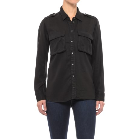 Two-Pocket TENCEL® Twill Military Shirt - Long Sleeve (For Women) in Black