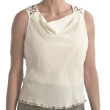 Two Star Dog Cynthia Shirt - Georgette Silk, Beaded Pebble Trim, Sleeveless (For Women) in White - Closeouts