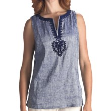 Two Star Dog Embellished Lucia Stretch Tank Top (For Women) in Chambray - Closeouts