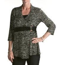 Two Star Dog Embellished Melinda Shirt - Travel Knit, 3/4 Sleeve (For Women) in Confetti Print - Overstock