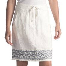 Two Star Dog Embroidered Ginny Linen Skirt (For Women) in Soft White - Closeouts
