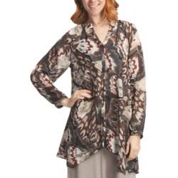 Two Star Dog Francesca Tunic Shirt - Printed Chiffon, Long Sleeve (For Women) in Samba Brown