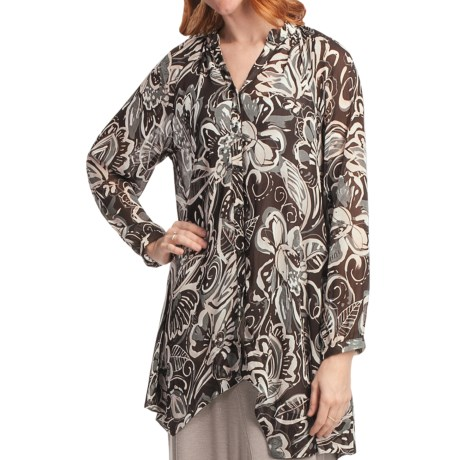 Two Star Dog Francesca Tunic Shirt - Printed Chiffon, Long Sleeve (For Women) in Samba Brown
