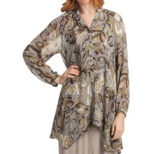 Two Star Dog Francesca Tunic Shirt - Printed Chiffon, Long Sleeve (For Women) in Samba Grey - Closeouts