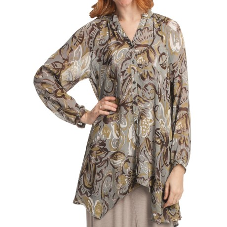 Two Star Dog Francesca Tunic Shirt - Printed Chiffon, Long Sleeve (For Women) in Mirabella