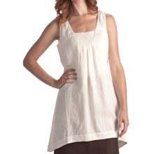 Two Star Dog Frederika Embroidered Tunic Shirt - Linen, Sleeveless (For Women) in Soft White - Closeouts