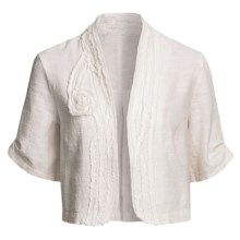 Two Star Dog Helena Crop Jacket - Textured Linen, Short Sleeve (For Women) in Flax - Closeouts