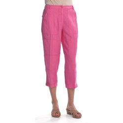 Two Star Dog Julia Crop Pants - Garment-Dyed Linen (For Women) in Hibiscus