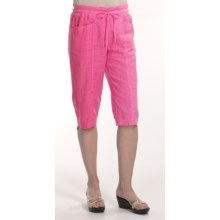 Two Star Dog Linen Capri Pants - Garment-Dyed (For Women) in Hibiscus - Closeouts