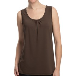 Two Star Dog Long Jersey Tank Top - Shirred Neck (For Women) in Mushroom