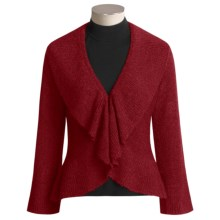 Two Star Dog Louisa Cardigan Sweater - Cozy Boucle, Ruffled Cutaway (For Women) in Pomegranite - Closeouts