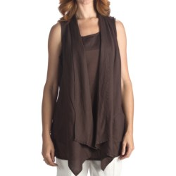 Two Star Dog Matilda Cascading Vest - Linen (For Women) in Chocolate
