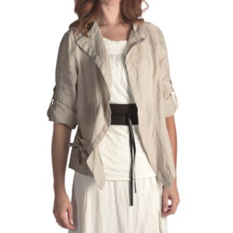 Two Star Dog Murielle Linen Jacket - 3/4 Sleeve (For Women) in Flax