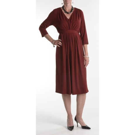 Two Star Dog Nikki Dress - Travel Knit, 3/4 Sleeve (For Women) in Solid Wine