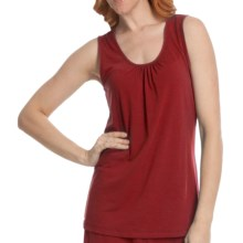 Two Star Dog Shirred Neck Tank Top - Heathered Stretch Jersey (For Women) in Pimento - Closeouts