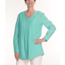 Two Star Dog Vicky Linen Tunic Shirt - Long Sleeve (For Women) in Seaglass - Closeouts