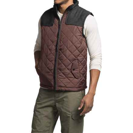 Two-Tone Quilted Vest (For Men) in Black/Mauve - 2nds