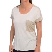 Two-Tone T-Shirt - Short Sleeve (For Women) in Beige - 2nds