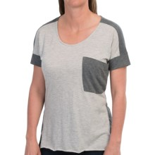 Two-Tone T-Shirt - Short Sleeve (For Women) in Grey - 2nds