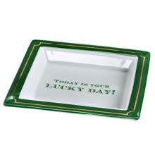 "Two's Company ""This Is Your Lucky Day"" Porcelain Desk Tray in Green - Closeouts"