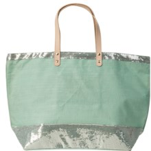 "Two's Company Caroline Jute Bag with Sequin Detail - 22x14"" in Aqua - Closeouts"