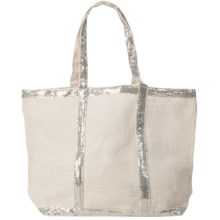 "Two's Company Caroline Jute Bag with Sequin Detail - 22x14"" in White - Closeouts"