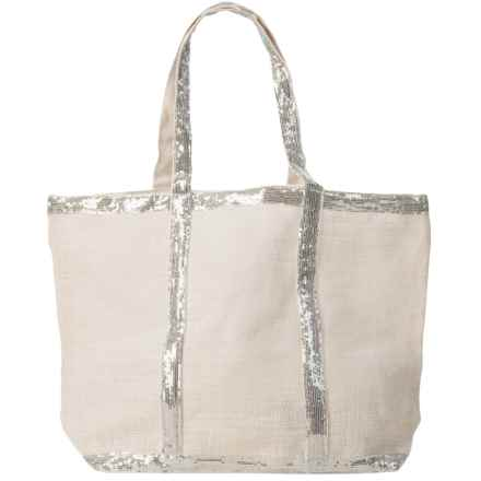 """Two's Company Caroline Jute Bag with Sequin Detail - 22x14"""" in White - Closeouts"""