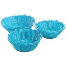 Two's Company Cupcakes Scalloped Baskets - Set of 3 in Blue - Closeouts