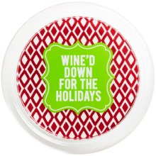"""Two's Company Holiday Cheer Wine Bottle Coaster - 5"""" in Wined Down - Closeouts"""