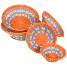 Two's Company Mad for Plaid Baskets - Set of 5 in Orange/White/Blue - Closeouts
